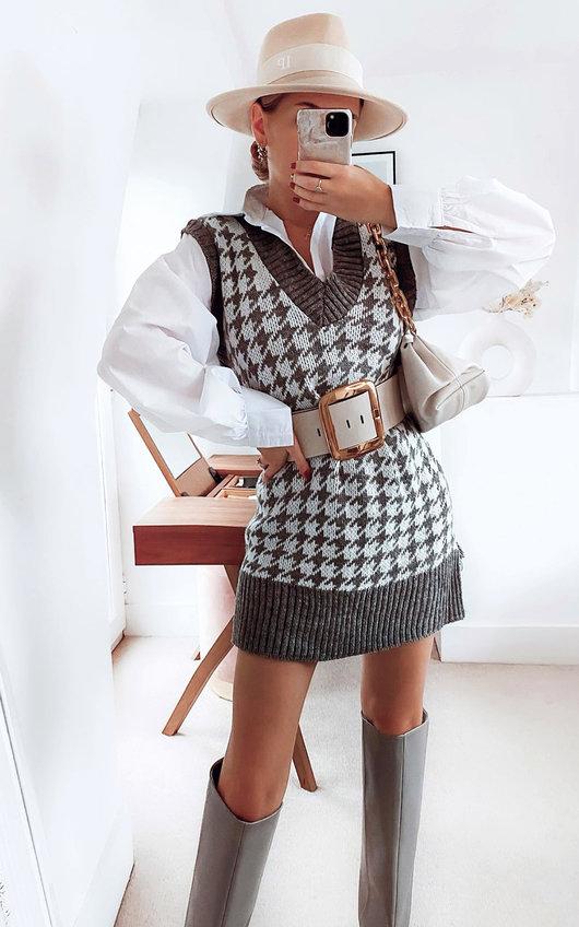 Joanna Dogstooth Sleeveless Vest