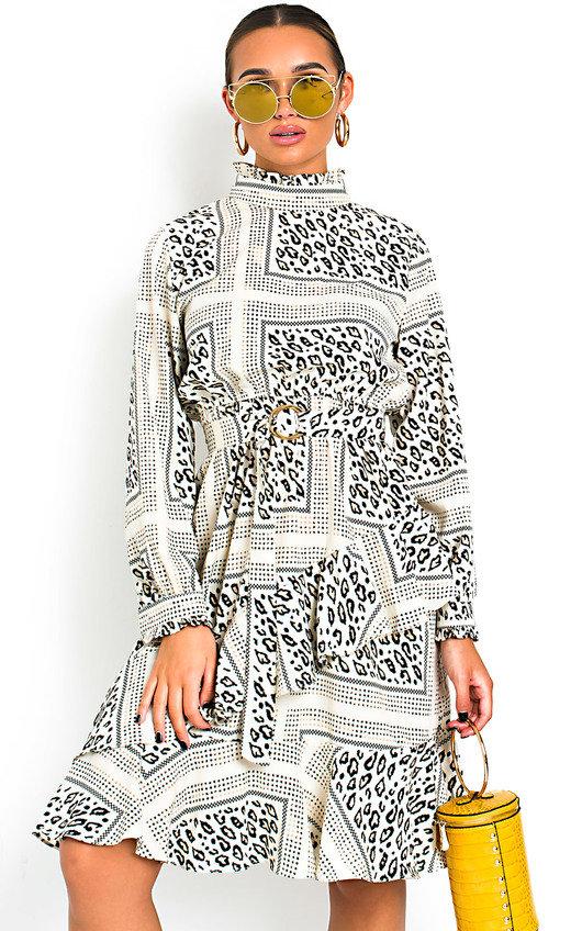 Joanne Animal Print Frill Midi Dress