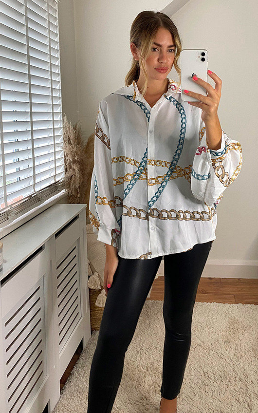 Joelle Oversized Shirt with Chain Print Detail