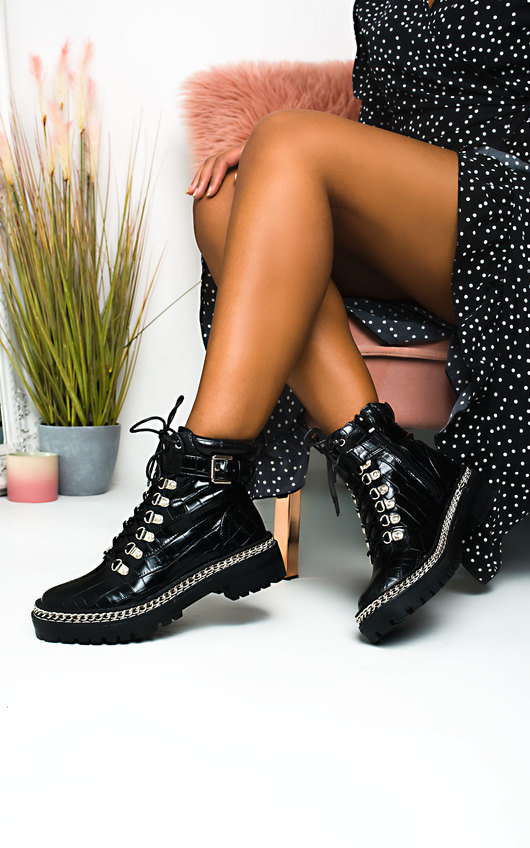 JoJo Chain Detail Lace Up Ankle Boots