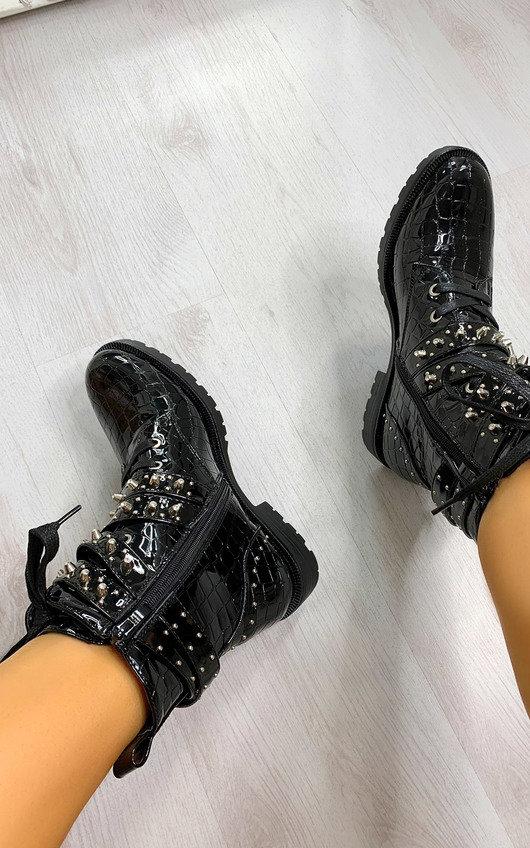 Jojo Studded Croc Print Lace Up Biker Boots