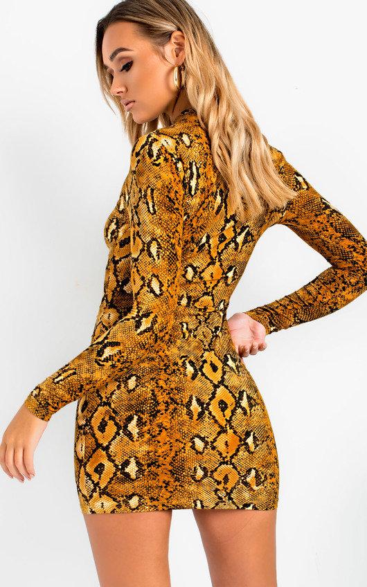 d2b090a589e263 Jolli Long-Sleeve Snake Print Boydcon Dress in Snake