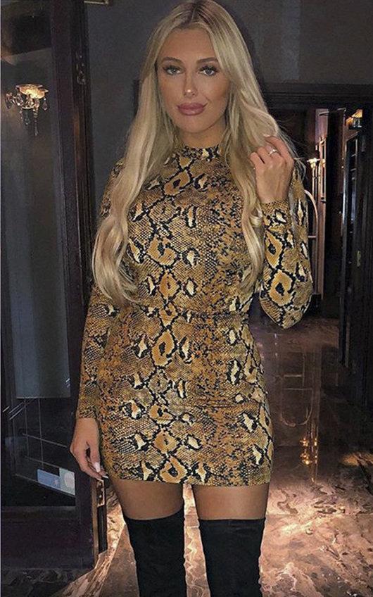 Jolli Long-Sleeve Snake Print Boydcon Dress