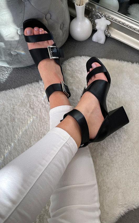 Josie Buckle Peep Toe Heels