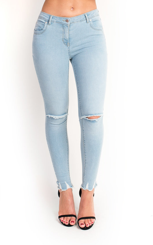 Josie Mid Rise Ripped Skinny Jeans