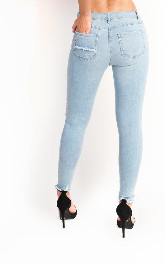 78ebcd96ec Josie Mid Rise Ripped Skinny Jeans in Denim