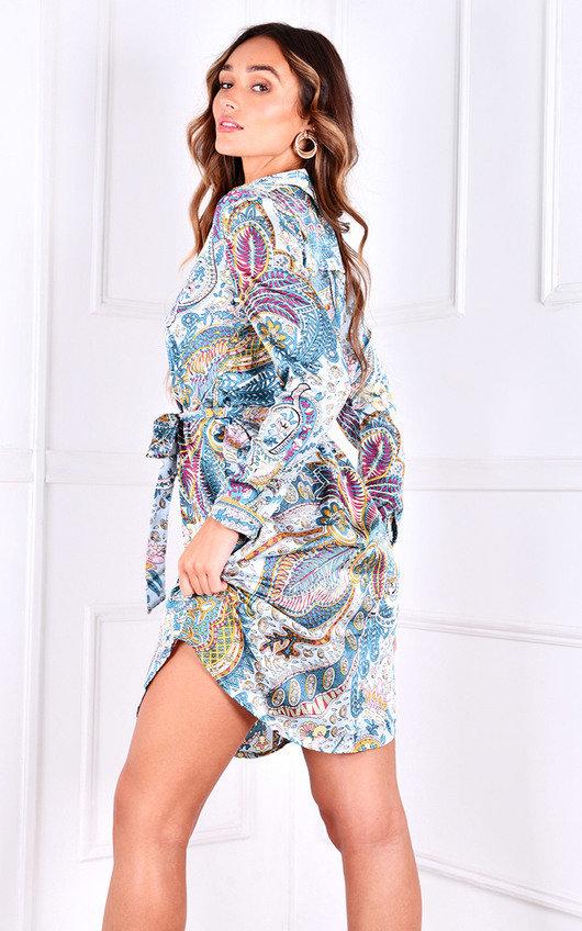 Josie Tie Waist Printed Shirt Dress