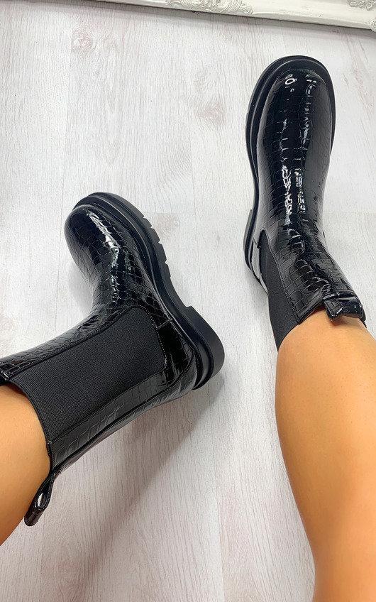 Joslin Croc Print Long Boots