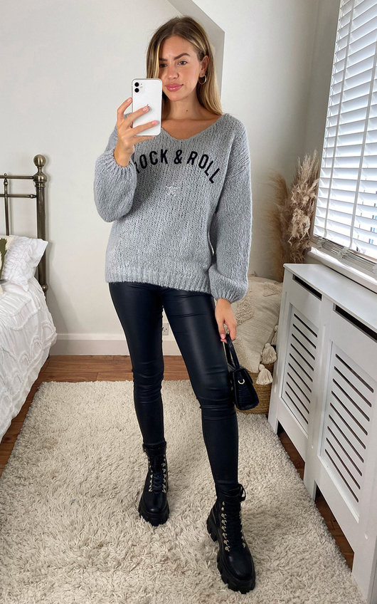 Joss Rock and Roll Knitted V Neck Jumper