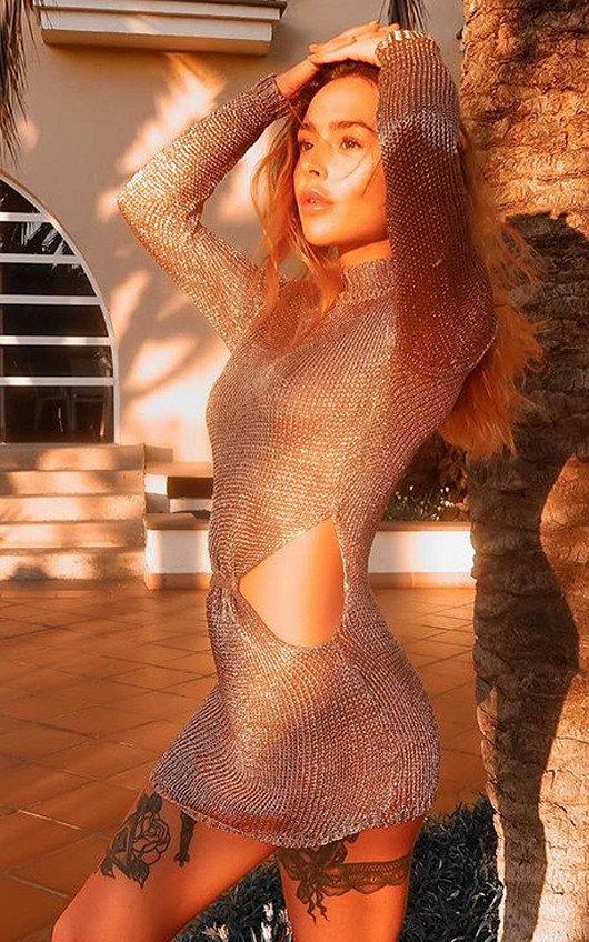 Josy Metallic Knot Waist Knit Dress