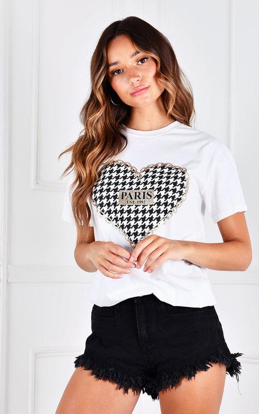 Joyce Paris Heart Printed T-Shirt