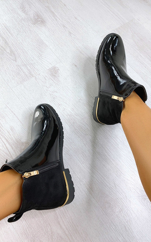 Jules Faux Leather Patent Ankle Boots