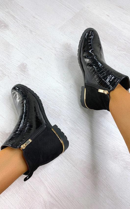 Jules Faux Leather Patent Croc Print Ankle Boots