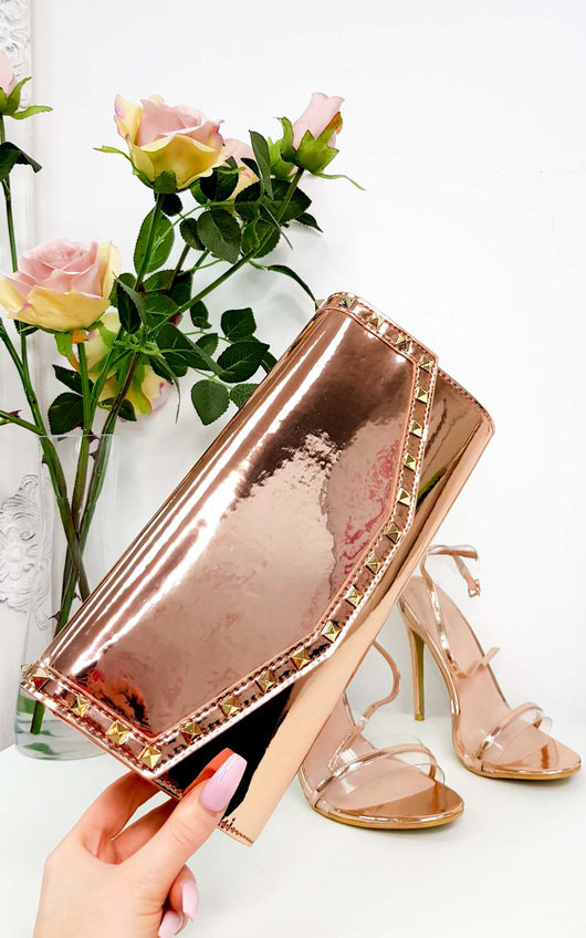 Julie Metallic Studded Envelope Clutch Bag