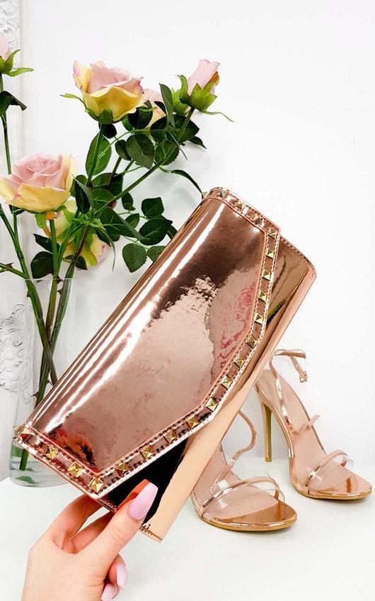 Julie Metallic Studded Envelope Clutch Bag