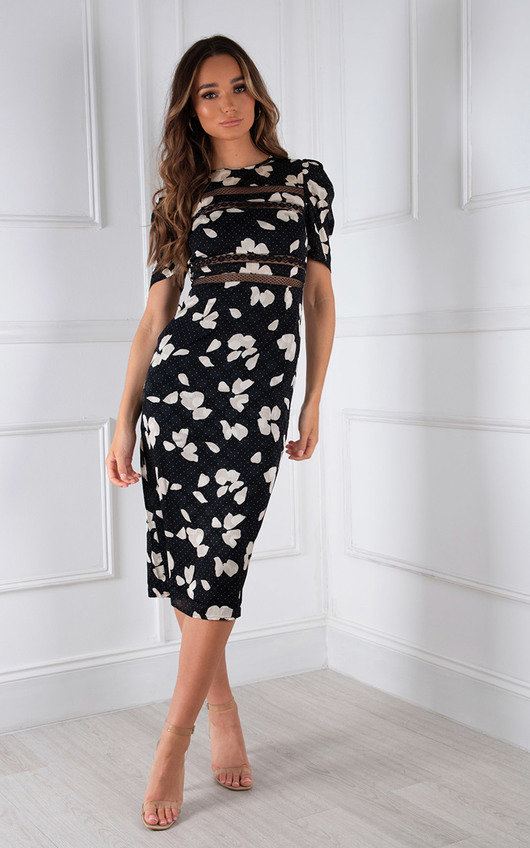 Justine Floral Puff Sleeve Midi Bodycon Dress
