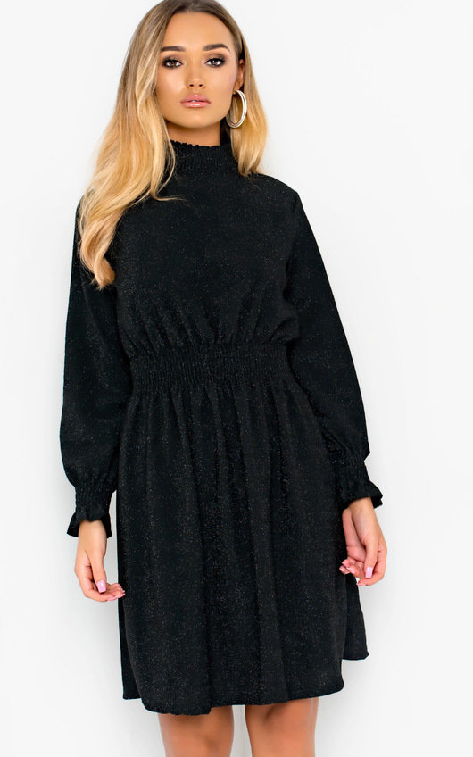 Kadi Glitter High Neck Flare Dress