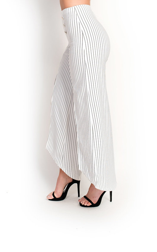 Kady High Waist Button Wide Leg Split Trousers