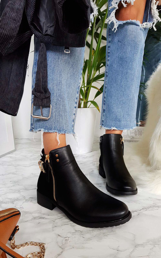 Kali Buckle Faux Suede Ankle Boots