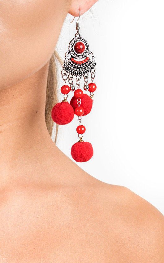 Kali Pom Pom Drop Earrings