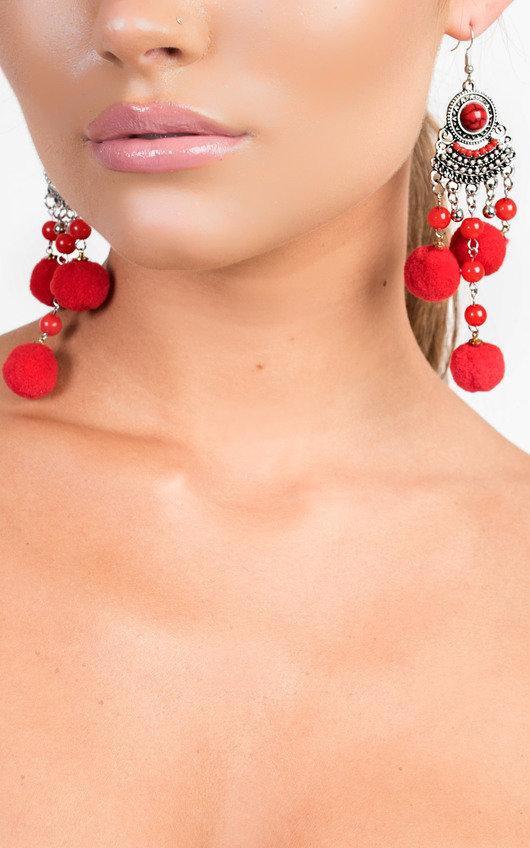 Kali Pom Pom Drop Earrings