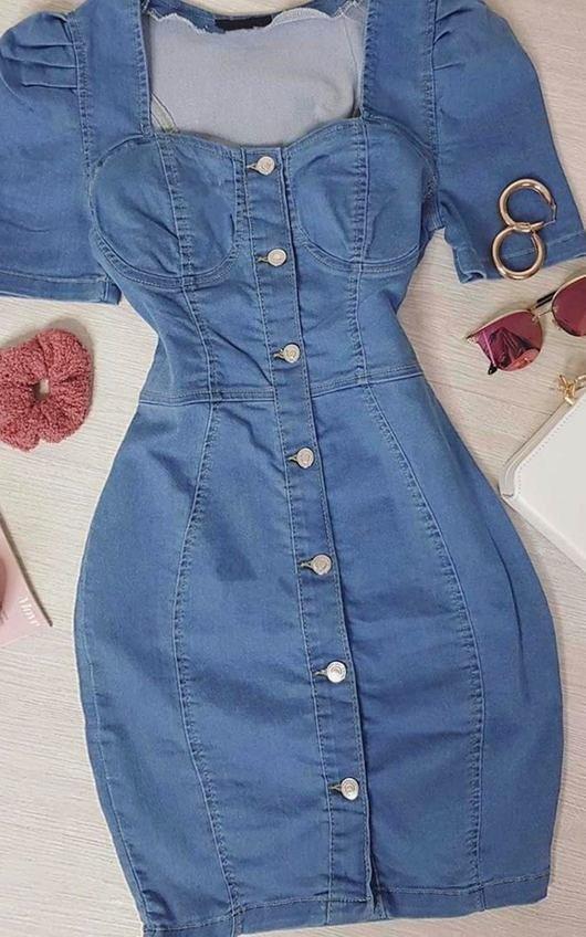 Kalis Button Up Denim Dress