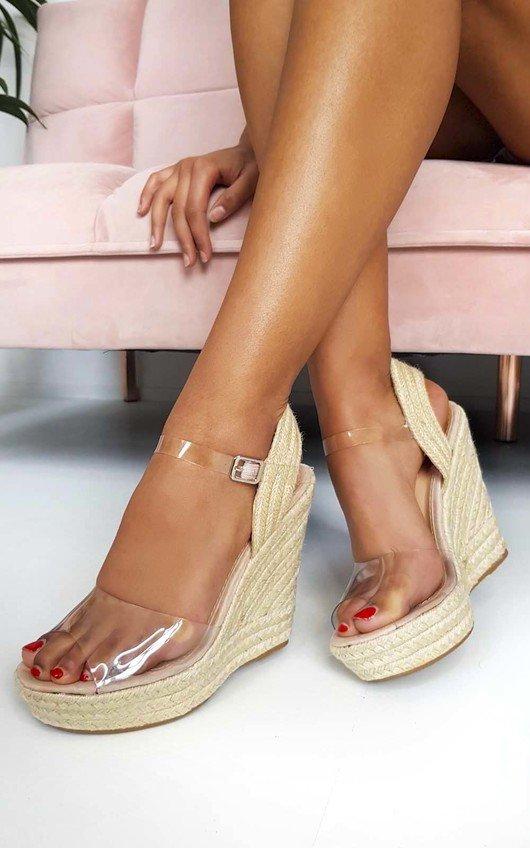 Kamille Perspex Roped Wedged Heels