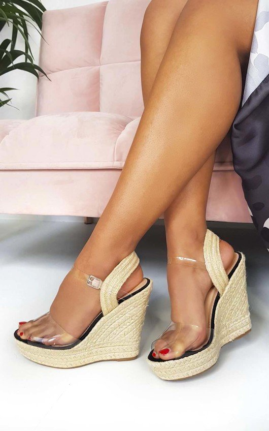 Kamille Perspex Roped Wedged Heels