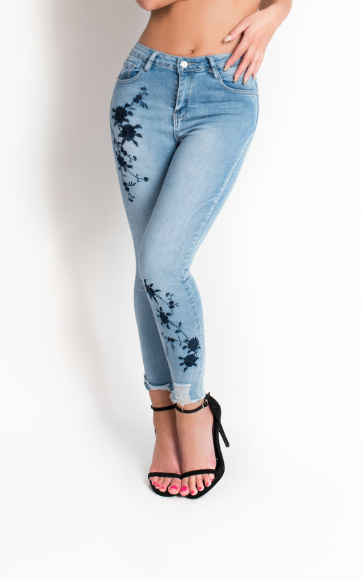 Kamran Embroidered Skinny Jeans