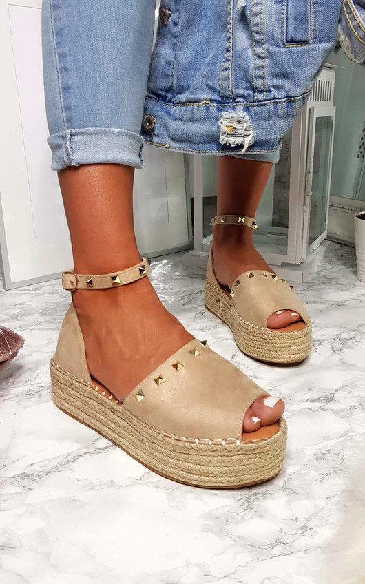 Kandi Studded Espadrille Flatform Sandal
