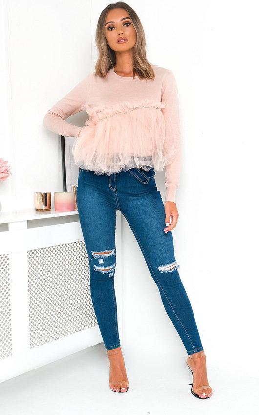Kara Mesh Diamante Detail Knitted Jumper