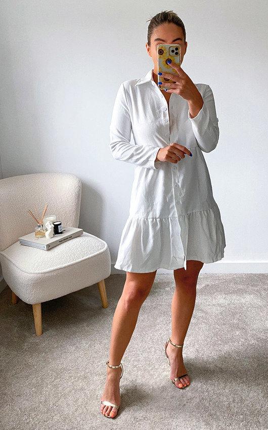 Karina Peplum Hem Mini Shirt Dress