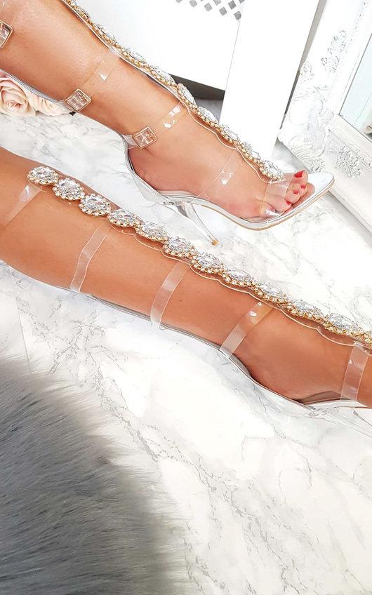 8777d6d7873b Karla Embellished Perspex Gladiator Heels in Silver