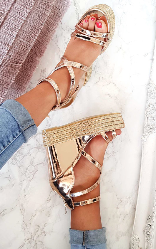 Karla Metallic Strappy Wedges