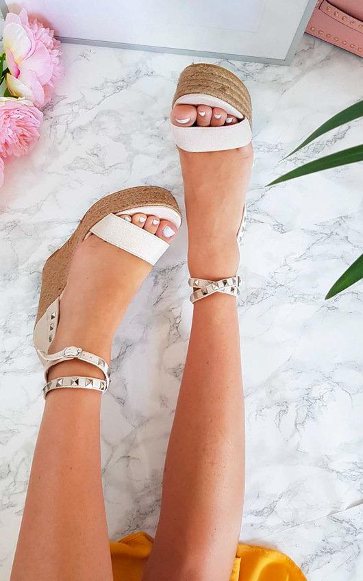 Karlie Studded Embellished Wedged Heels