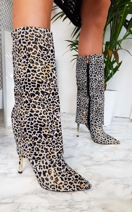 Karrie Fold Over Leopard Print Boots