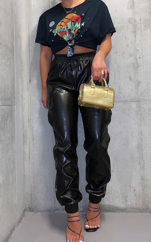 Kasey Faux Leather Jogger Trousers