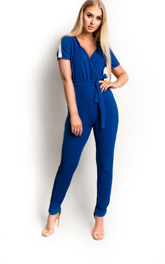 Kasia Stripe Belted Stretch Jumpsuit