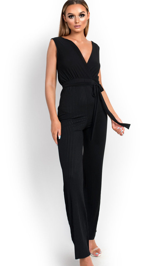 Kasia Stripe Belted Stretch Jumpsuit