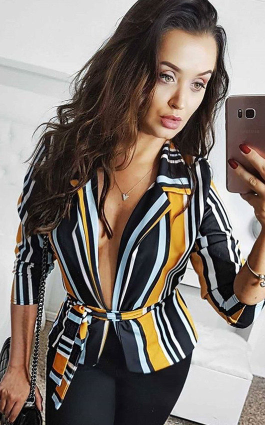 Kassidy Striped Belted Tie Blazer