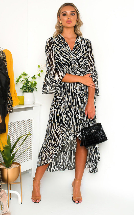 Kat Polka Dot Zebra Print Maxi Dress