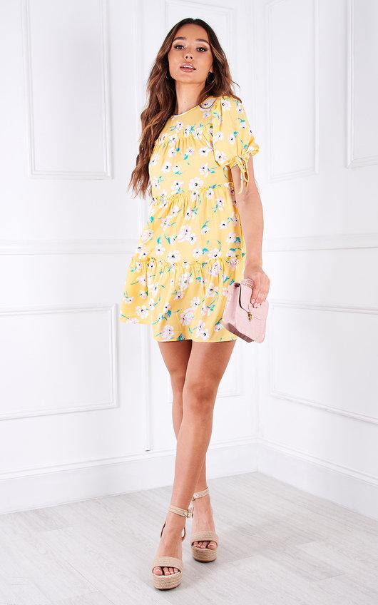 Kat Tiered Puff Sleeve Floral Mini Dress