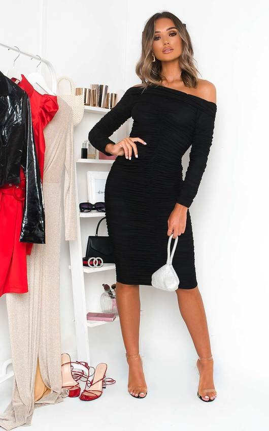 Katarina Off Shoulder Bodycon Midi Dress