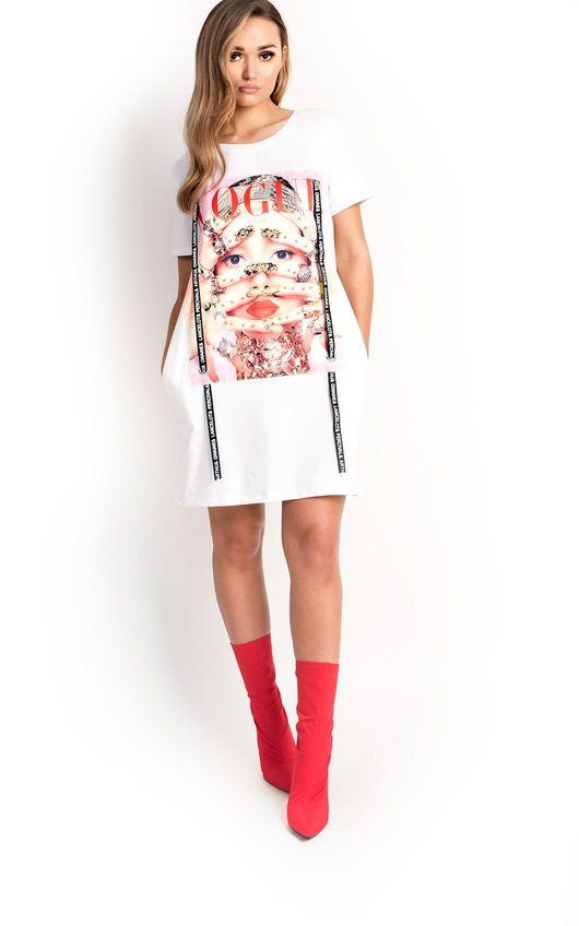93e6a8c47568 Kate Pearl Embellished Vogue T-Shirt Dress in White | ikrush