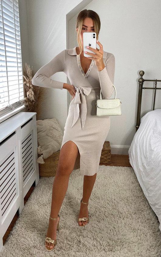 Katerina Tie Waist V Neck Long Sleeve Midi Dress