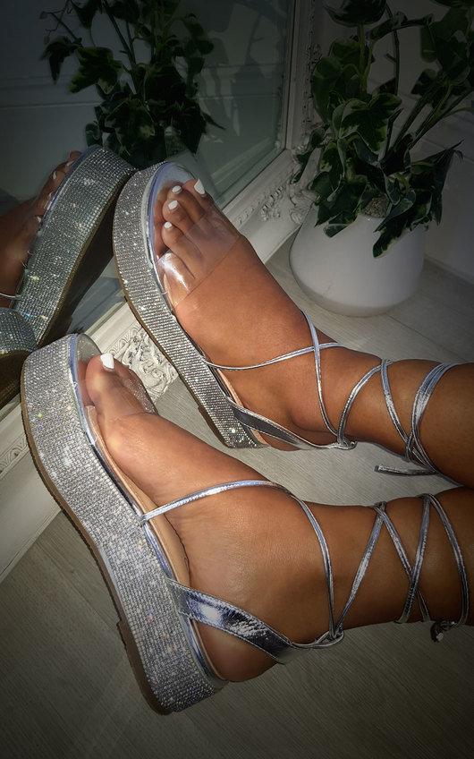 Katie Diamante Strappy Flatform Sandals