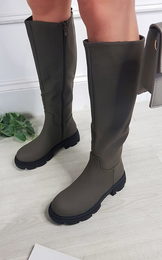 Katie Faux Leather Knee High Chunky Boot