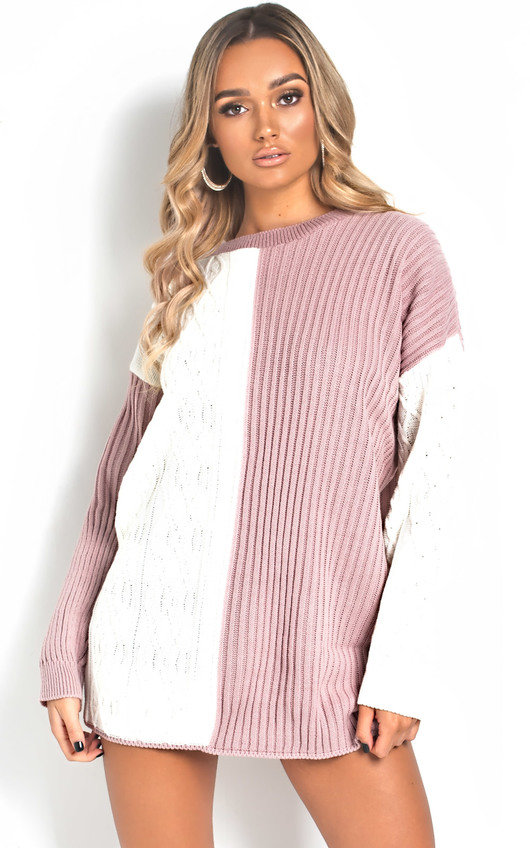 Katie Knitted Two-Tone Jumper Dress