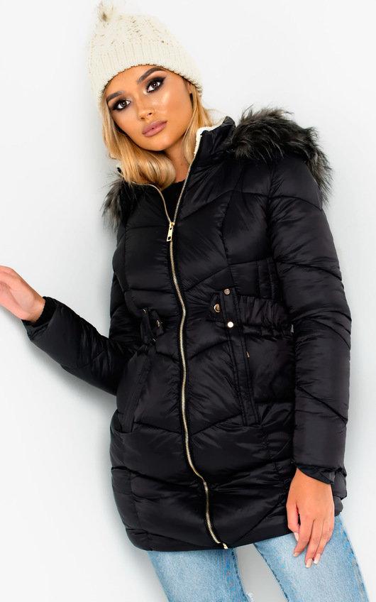 Katy Long-Lined Faux Fur Hood Puffer Jacket