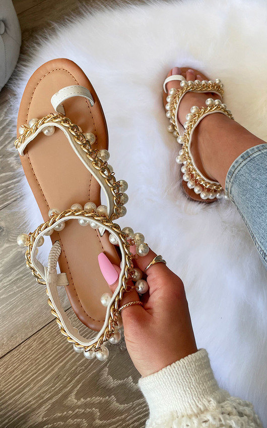 Katya Pearl Strap Sandals